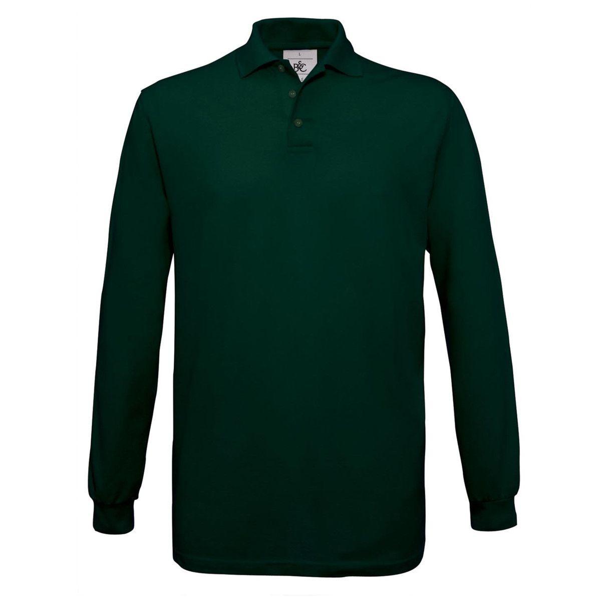 B&C Safran Long Sleeve Piqué Polo Shirts Mens (Green)