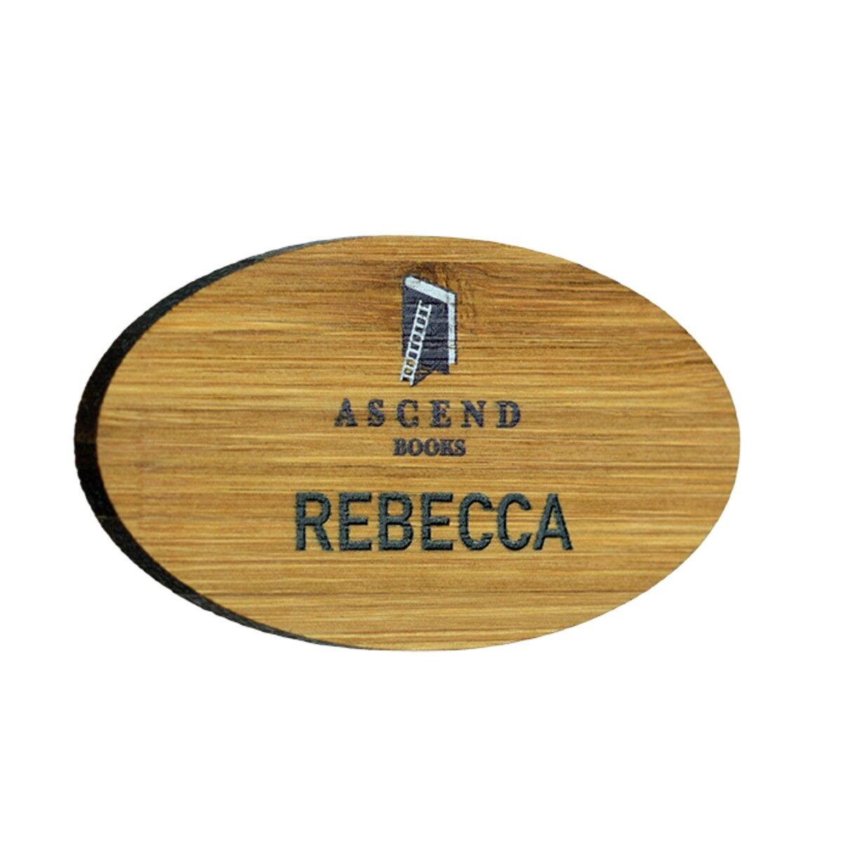 Sustainable Wood Name Badges oval shape