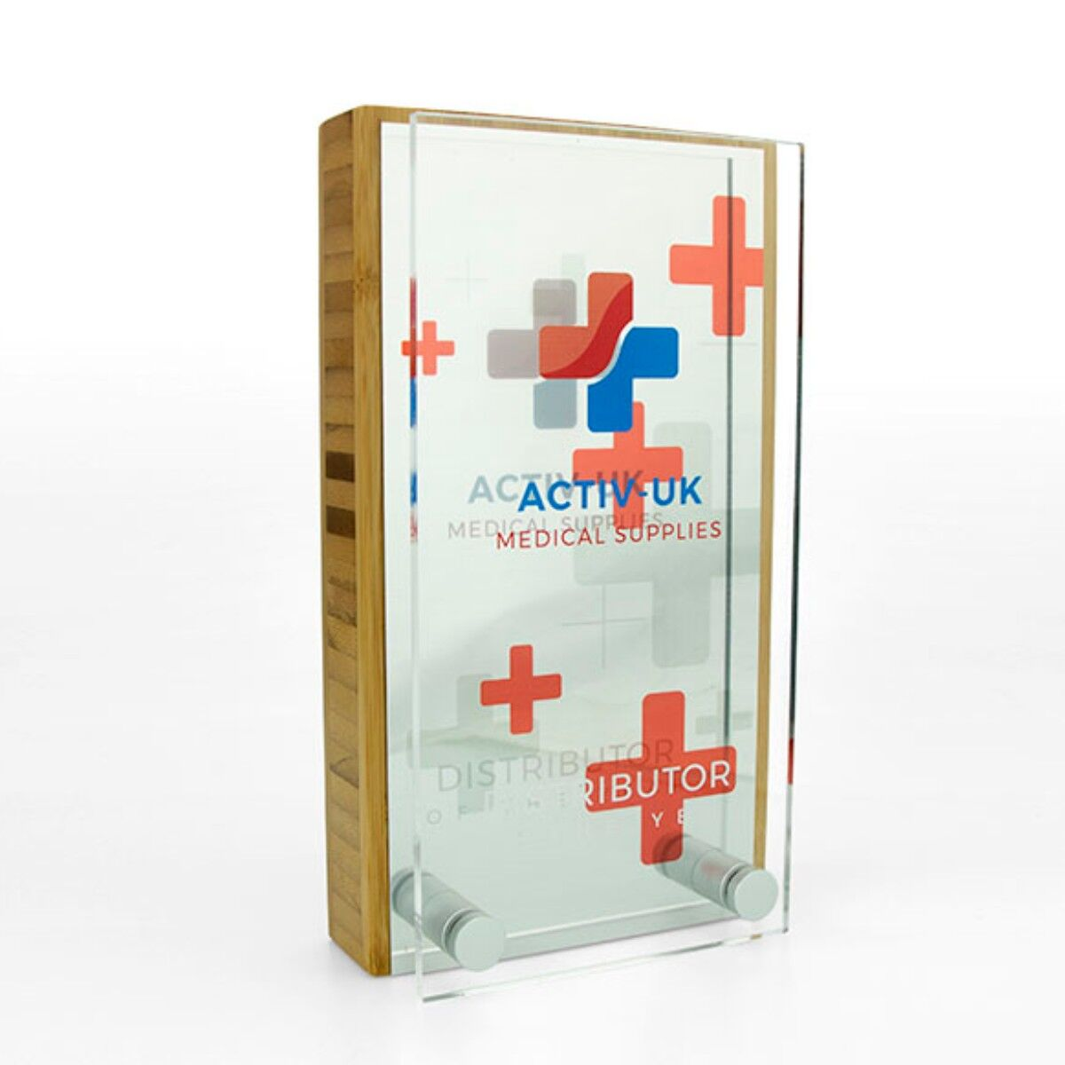 Bamboo Block Awards with metal plate and acrylic front
