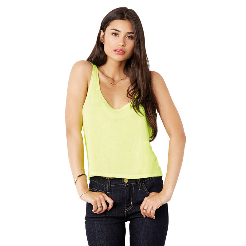 Bella Ladies Flowy Boxy Tank - Neon Yellow