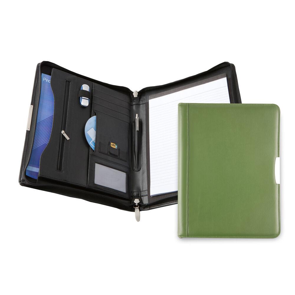 Bespoke Leather Zip Folder A4 - Avocado
