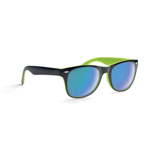 Black and lime mirror lens sunglasses