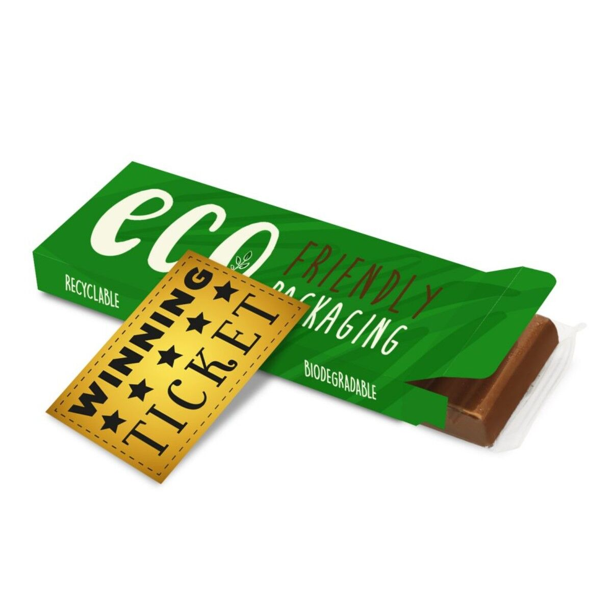 Chocolate Bar in Compostable Packaging 68g with gold ticket