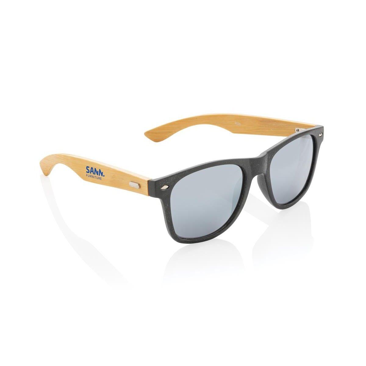 Colour Wheat Straw & Bamboo Sunglasses - Black