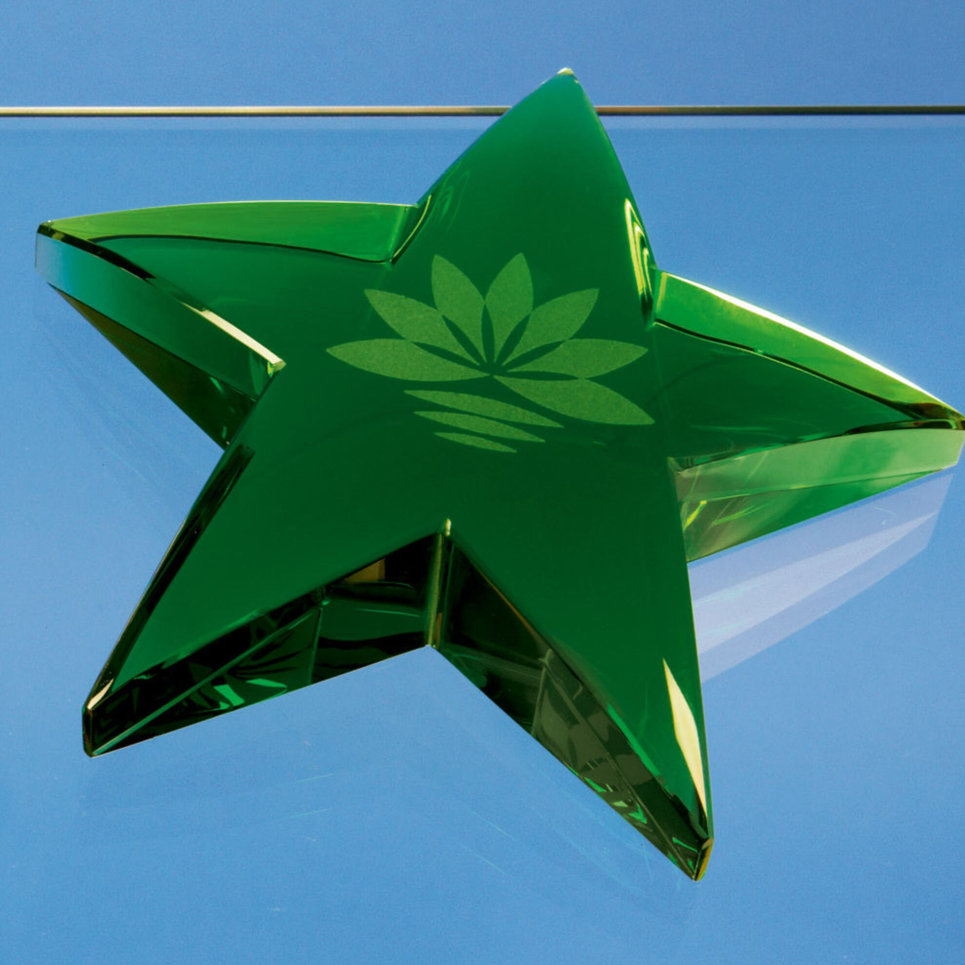10cm Optical Crystal Green Star Paperweight
