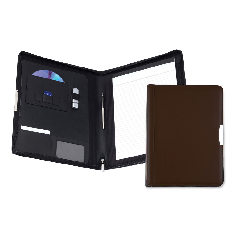 Personalised Leather Conference Folder - Brown