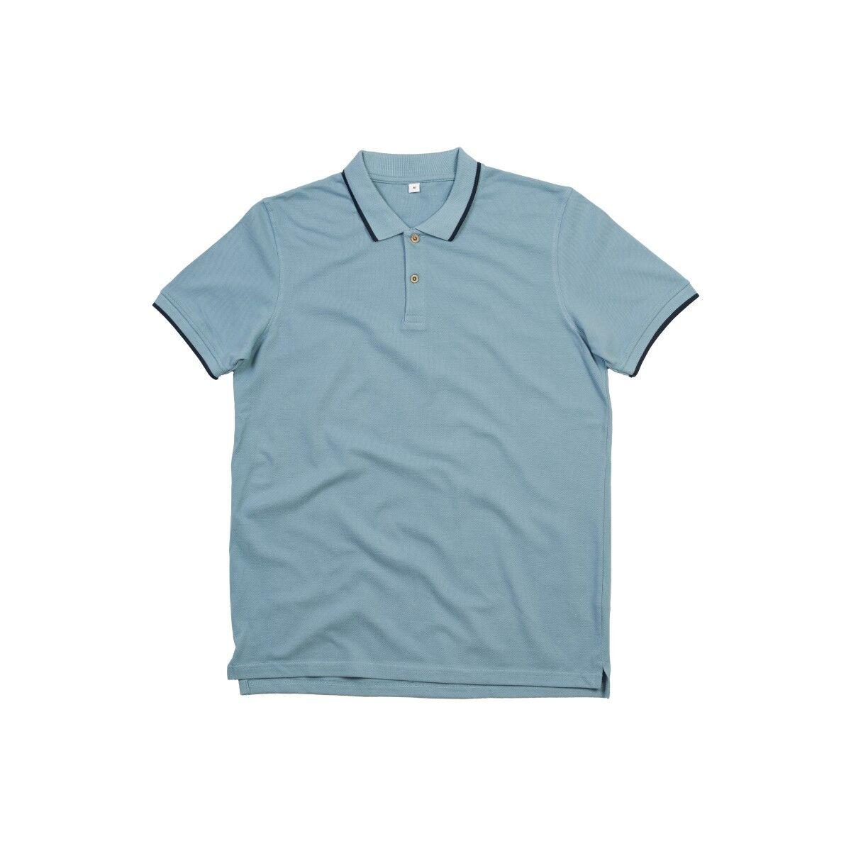 Mantis Tipped Polo Shirt -  Light Denim & Navy