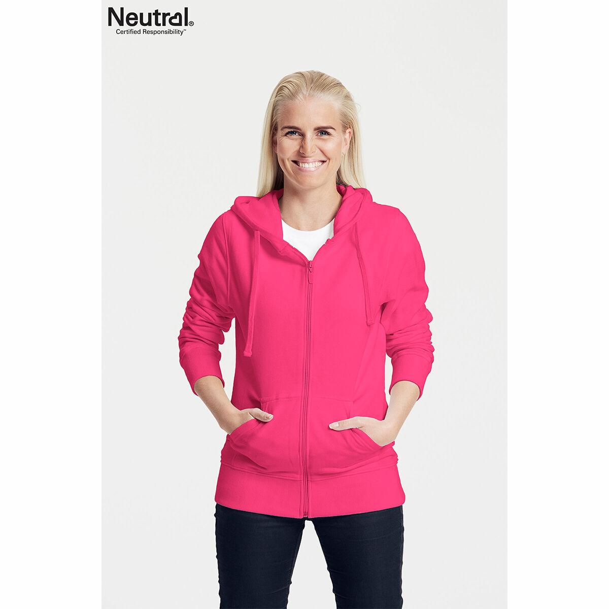 Neutral Ladies Zipped Hoodie Magenta