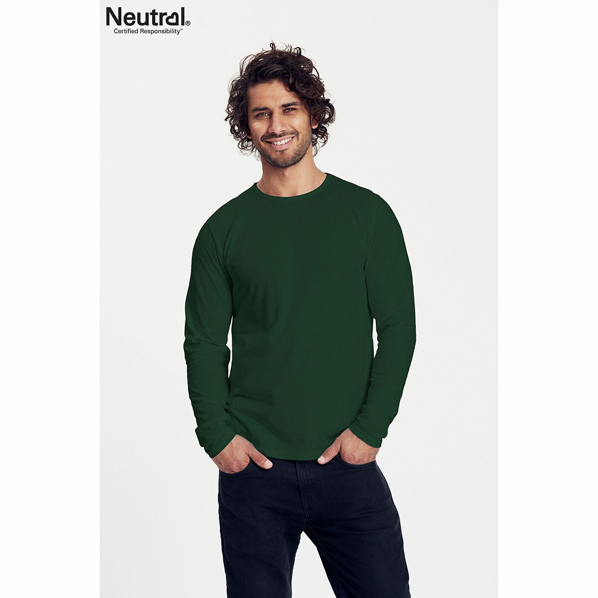 Neutral Long Sleeve Organic Men's T-shirt Green