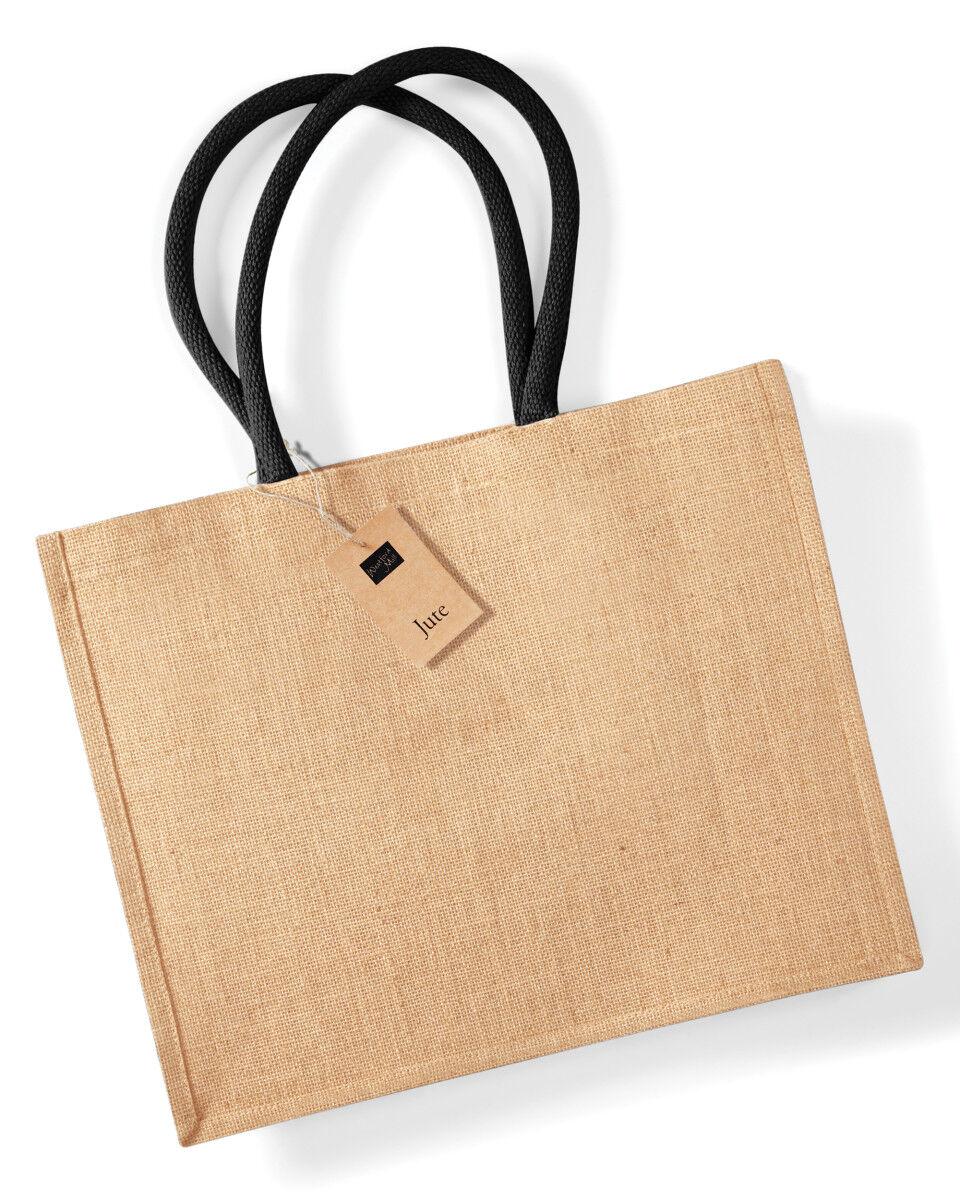 Printed Jute Bags Black Handles