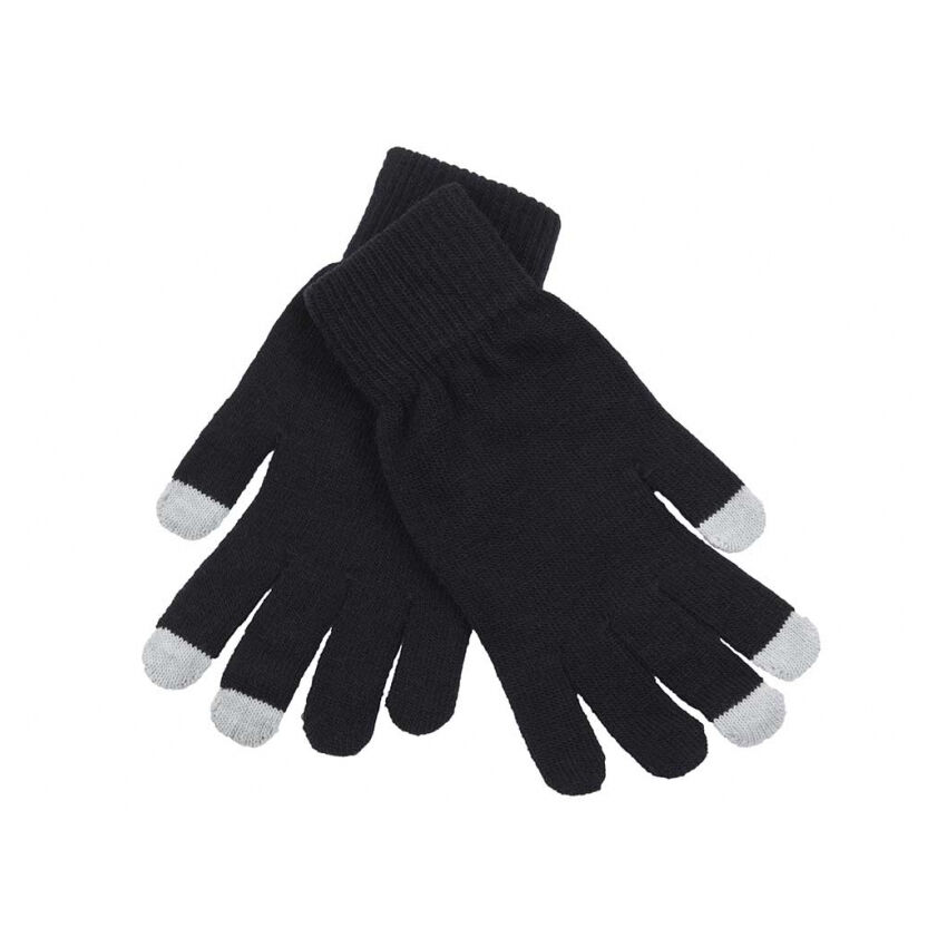 Logo Embroidered Touch Screen Gloves - Black