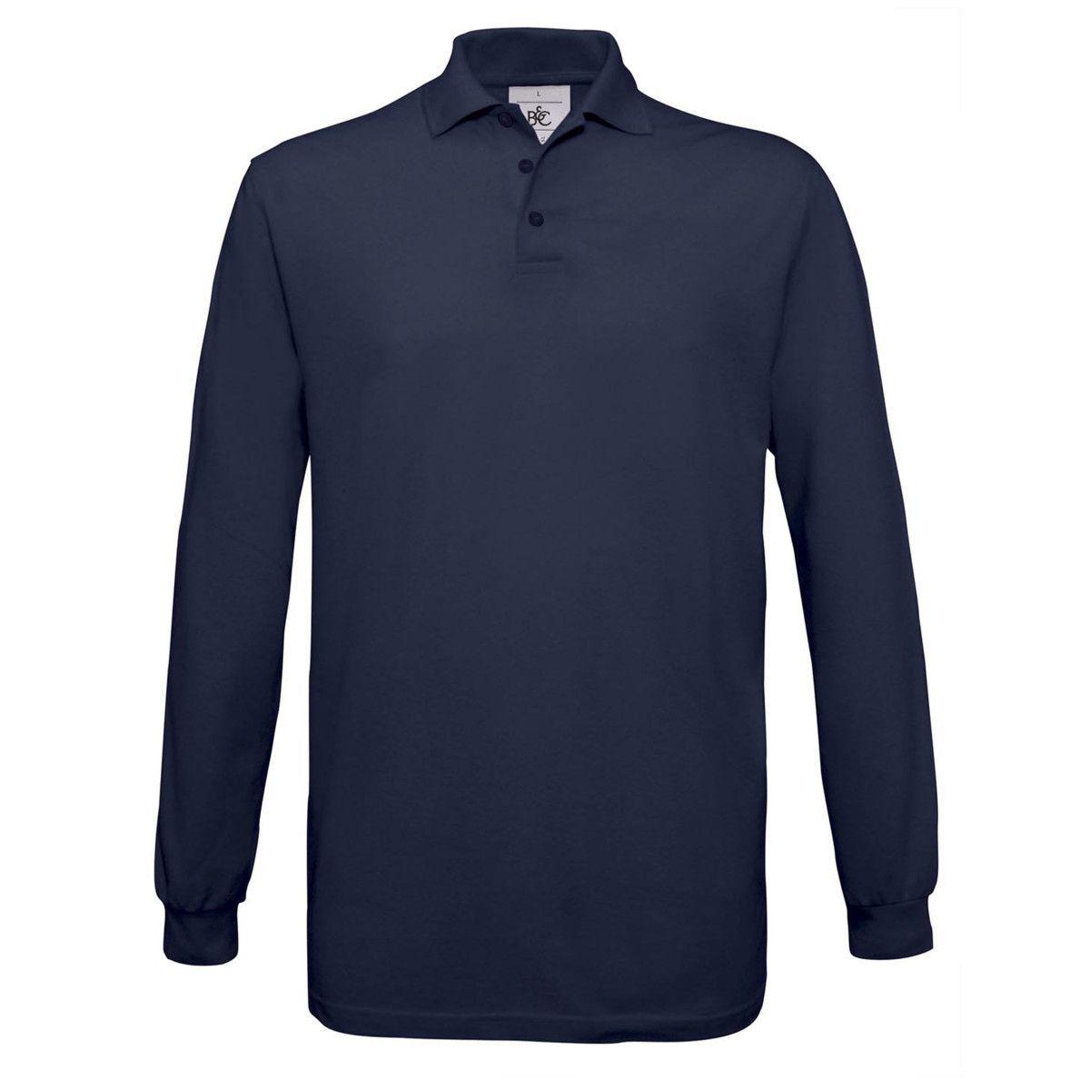 B&C Safran Long Sleeve Piqué Polo Shirts Mens (Navy)