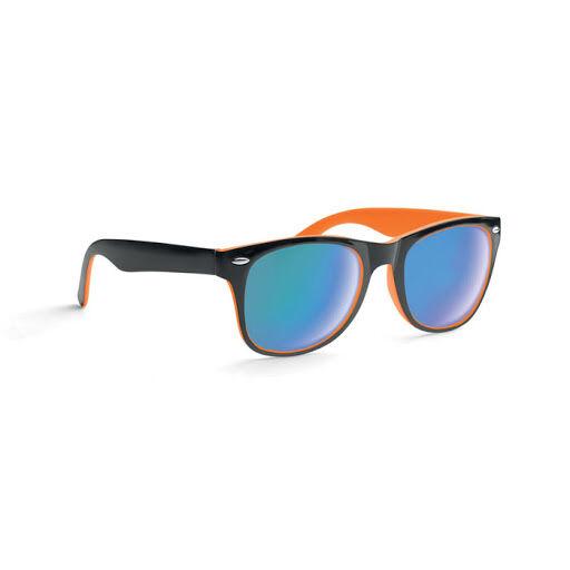 Black and orange mirror lens sunglasses