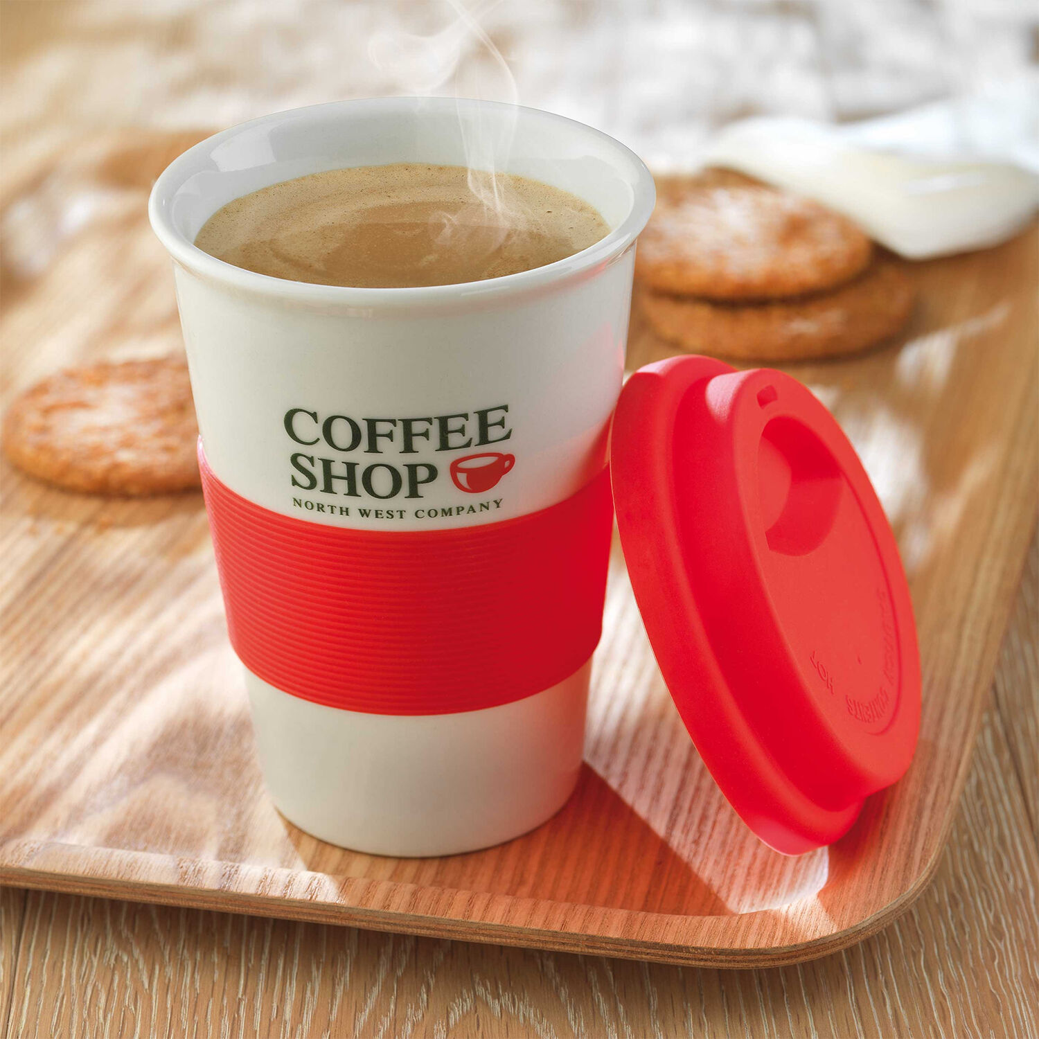 Ceramic Coffee Mug With Silicone Lid Red