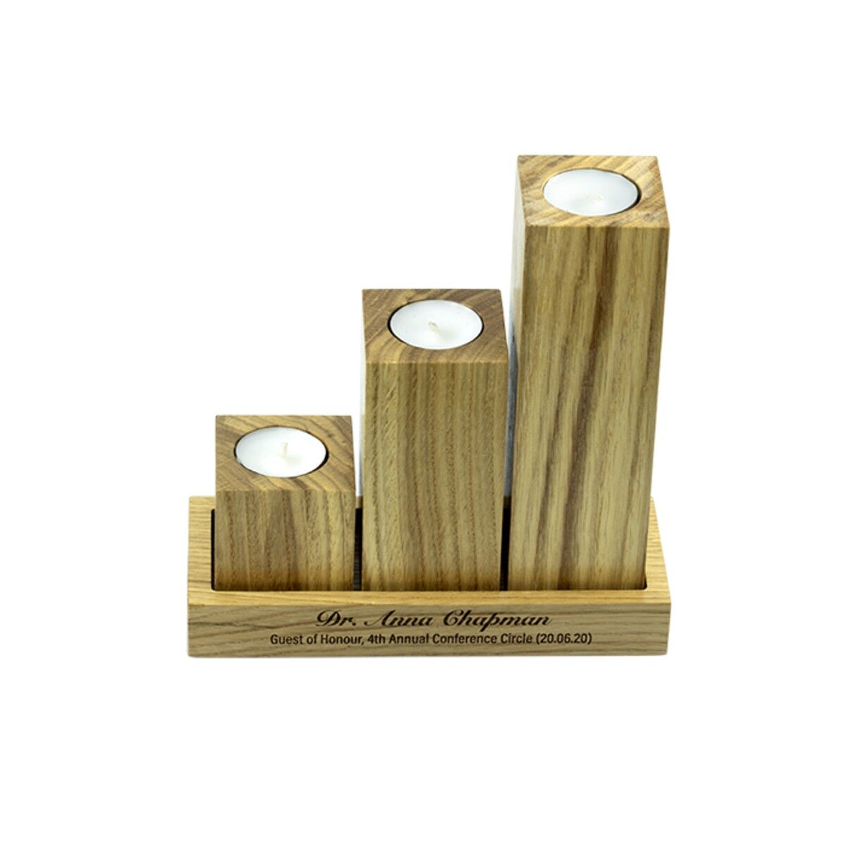 Oak Column Tealight Holders With Tray