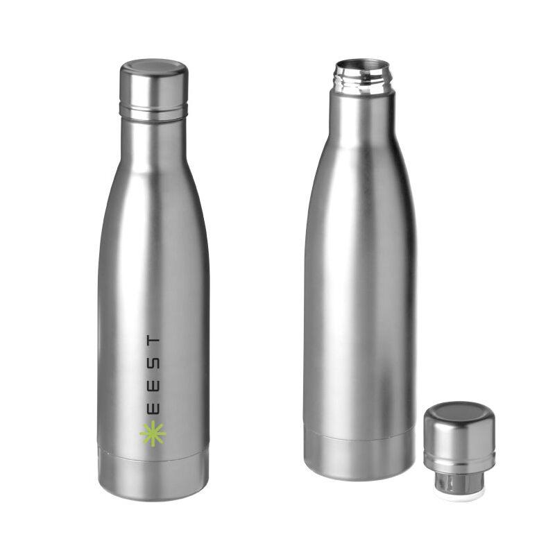 SteelVacuum Bottle copper lined Silver