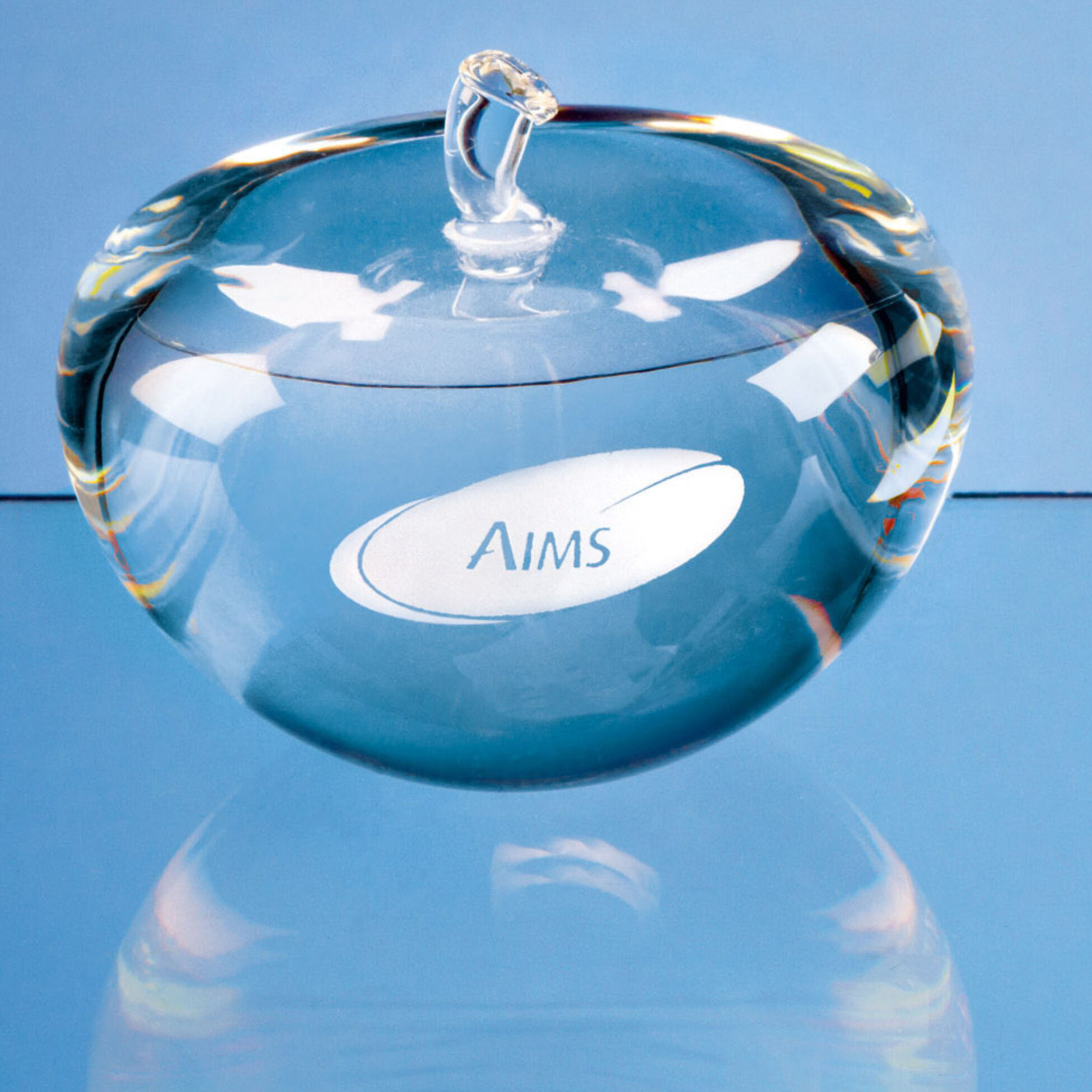 8cm Optical Crystal Clear Apple Paperweight