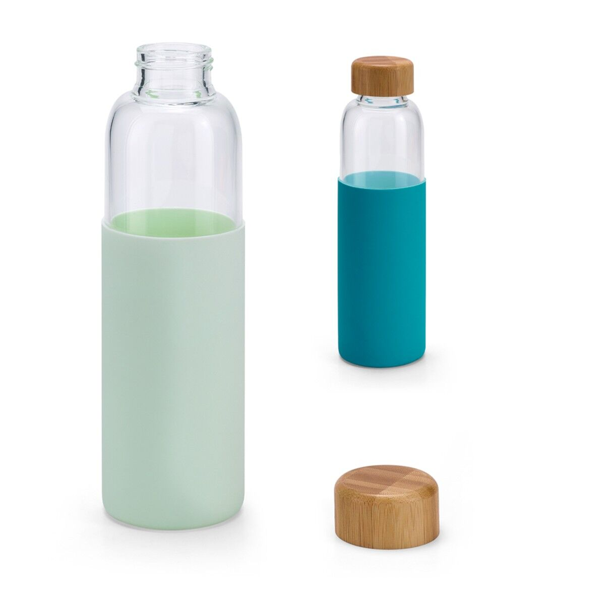 Glass Bottle with Bamboo Lid & Silicone Sleeve Colours