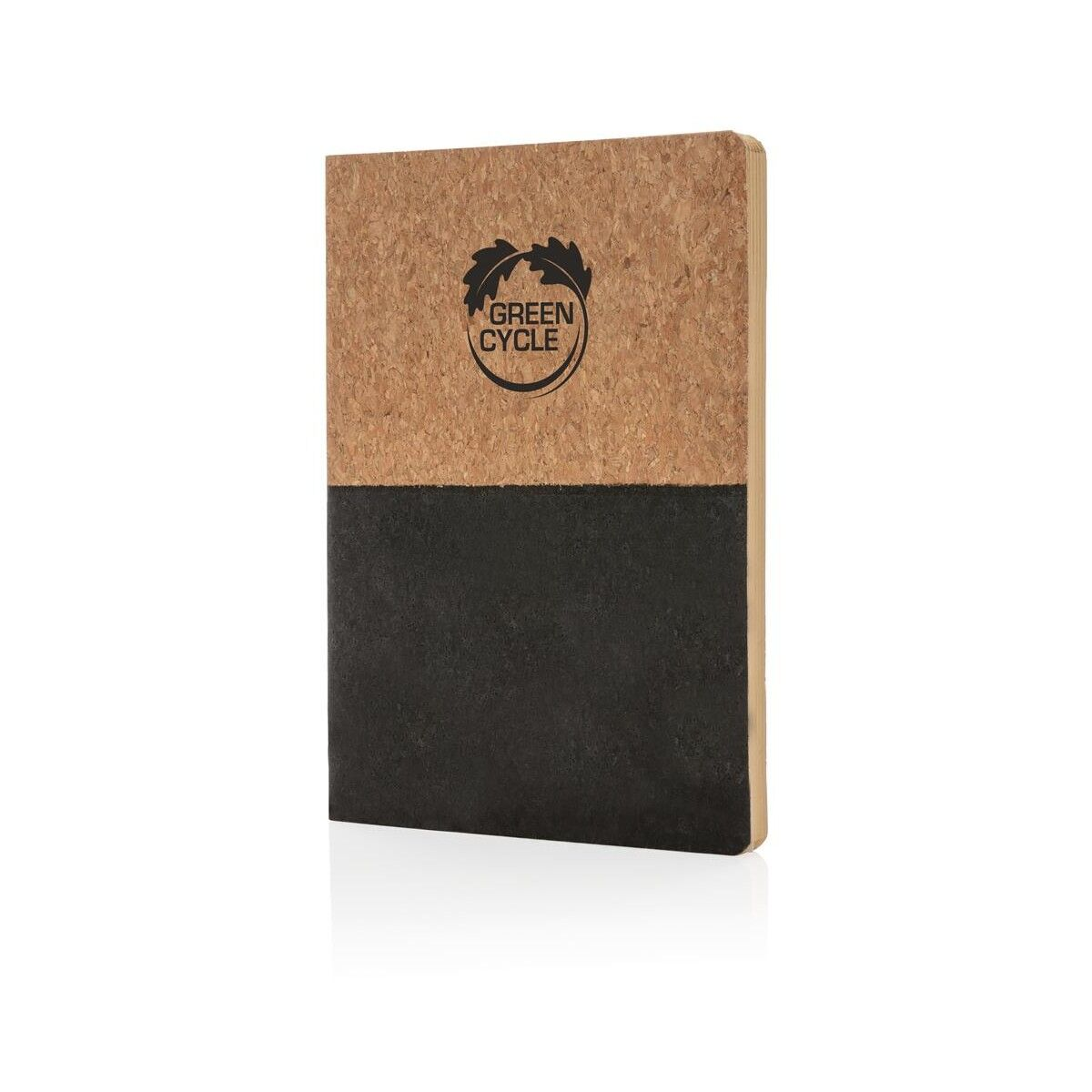 Half colour cork notebook - Black