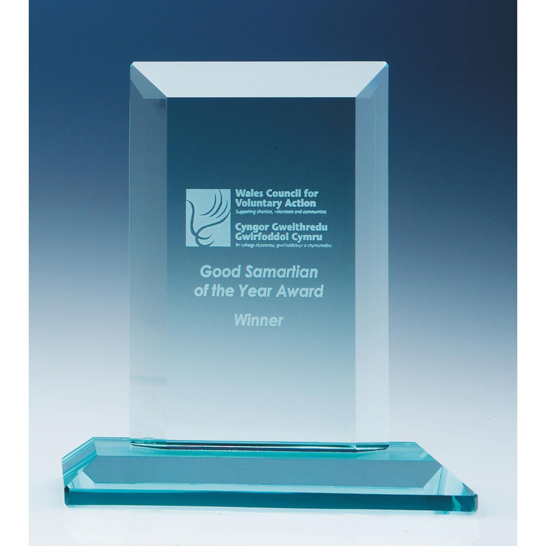 15 cm Jade Glass Rectangle Award