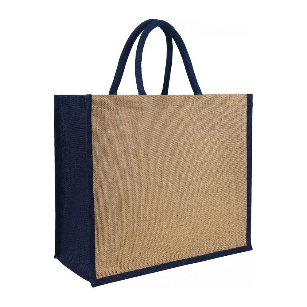 Laminated Jute Tote Bag Navy Blue