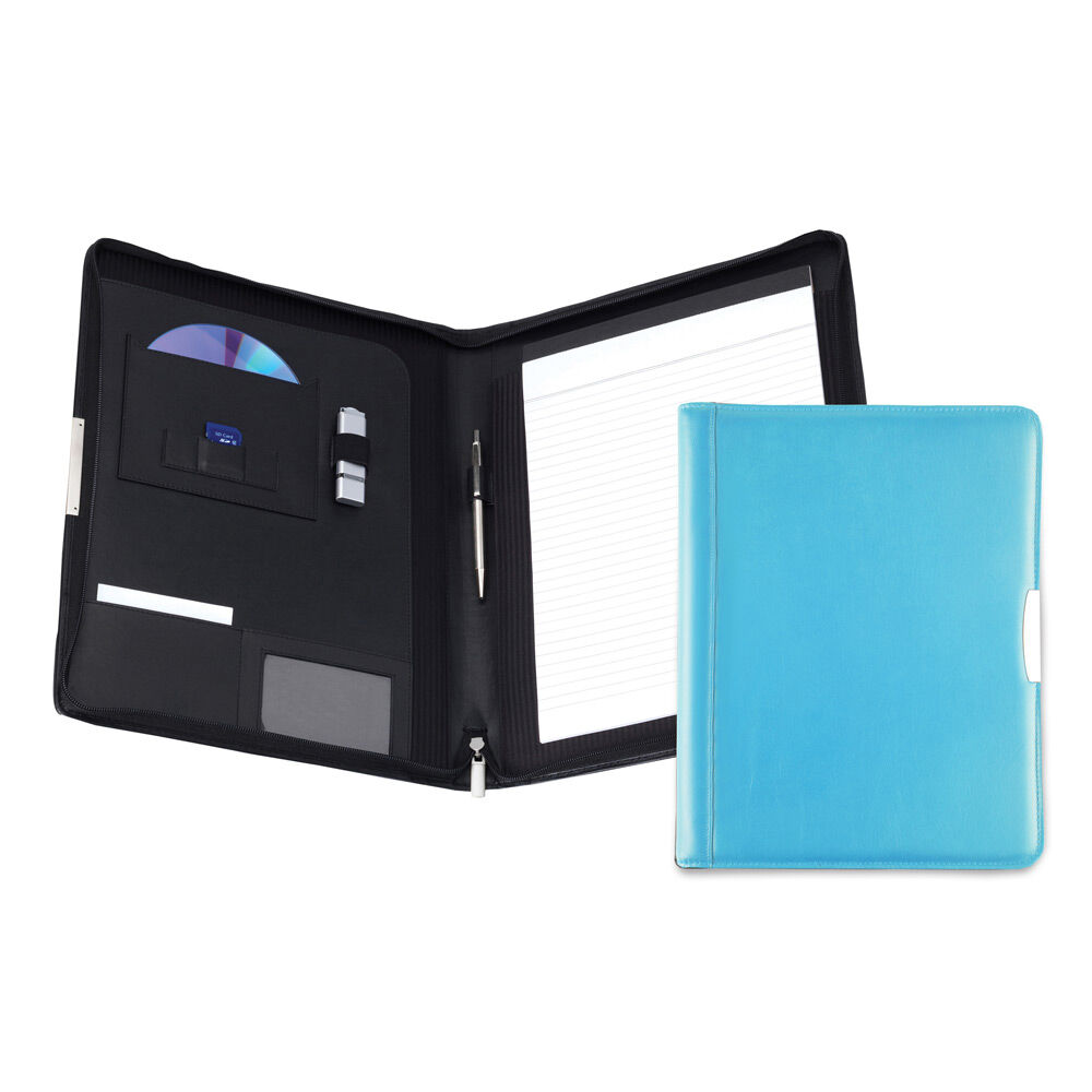 Personalised Leather Conference Folder - Sky Blue