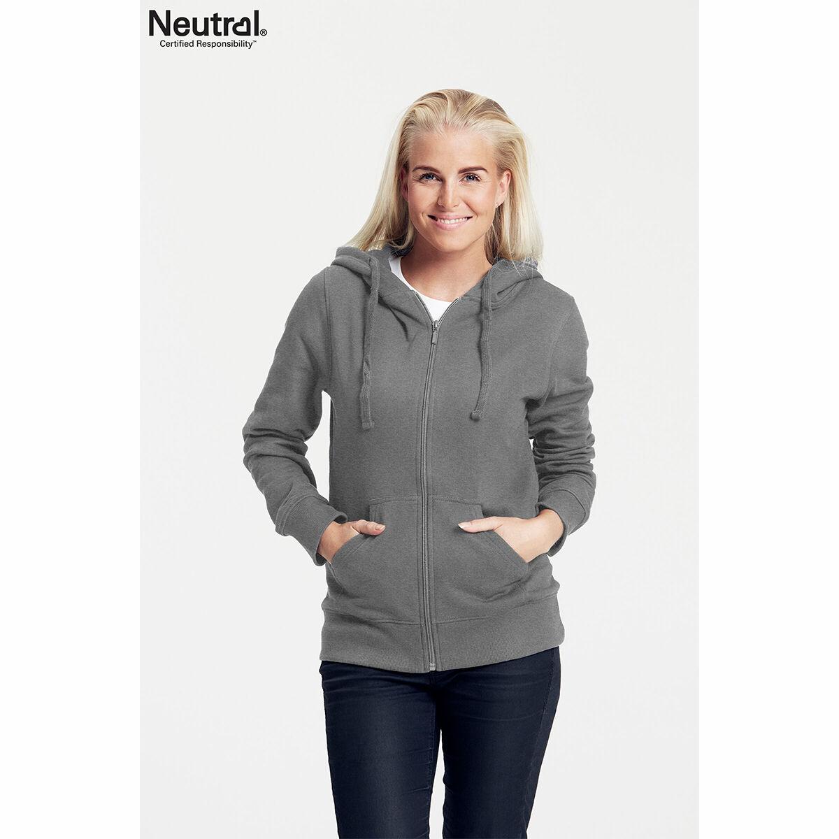 Neutral Ladies Zipped Hoodie Grey