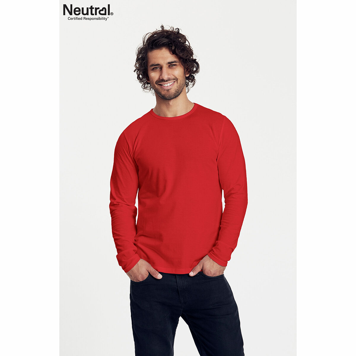 Neutral Long Sleeve Organic Men's T-shirt Red