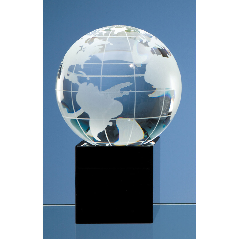 Optical Crystal Globe on Black Optic Base