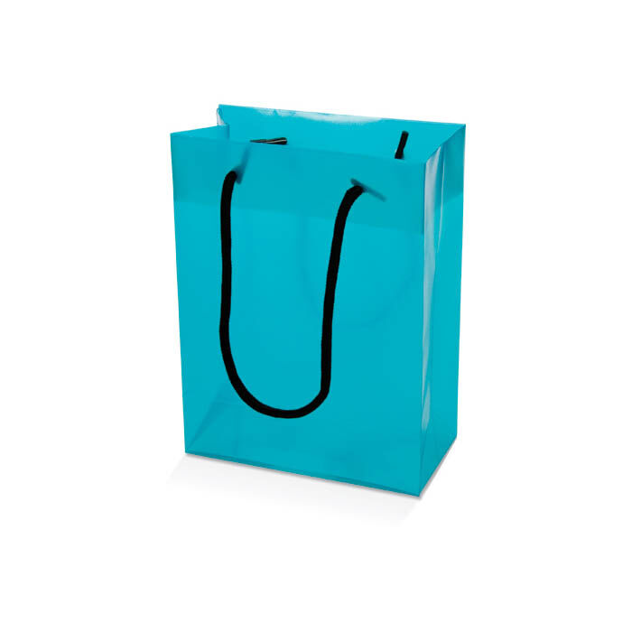 PP rope handled shoppers - turquoise