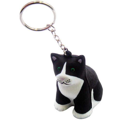 Squeezy Stress Cats to Print - Black & White Cat Keyring